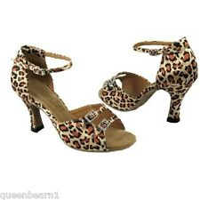 1620 Leopard Satin Ballroom Salsa Latin Dance Shoes heel 3 Size 8.5 Very fine