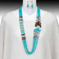 Rodeo Turquoise Easter Seed Bead Glass Miyuki Indian Beaded Necklace Western