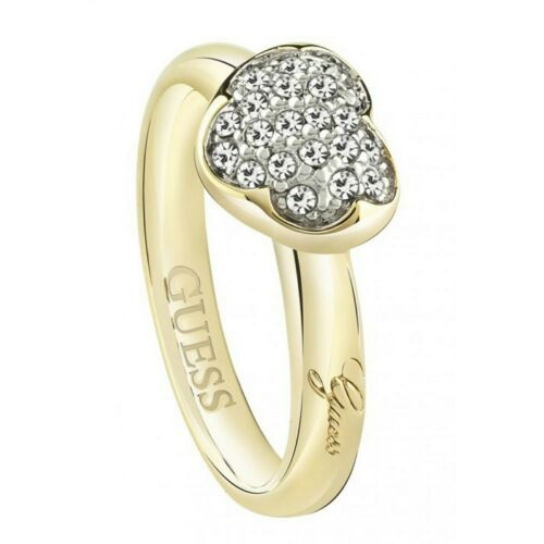 Guess Damen Ring Edelstahl gold Kristall UBR72502
