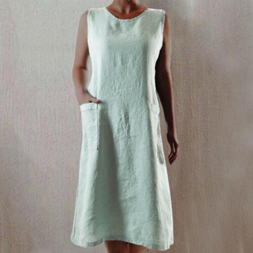 ZANZEA Damen O Neck Kleid Ärmellos Sommerkleid Baumwolle Pocket Plain Hemdkleid