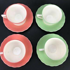 VTG Hazel Atlas Glass Coffee Cup Saucer Lot 8 Pink Green Paint Milk Glass Retro