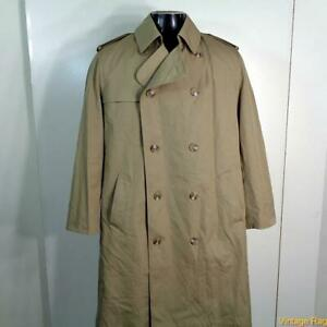 MISTY-HARBOR-Vtg-Long-RAINCOAT-Rain-Trench-Coat-Mens-Size-M-40-khaki