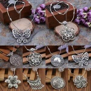Retro-Frauen-tibetischen-Silber-Tuerkis-Perlen-String-Anhaenger-Halskette-Schmuck