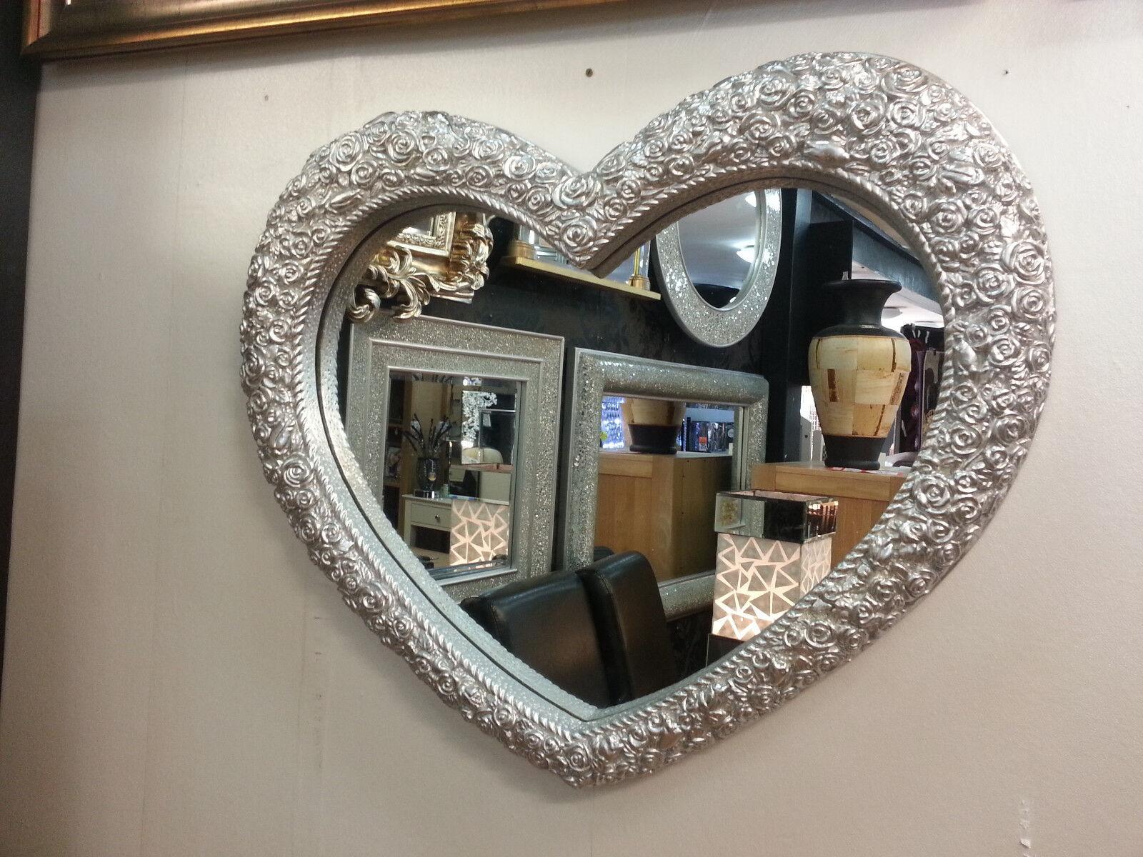 Coeur miroir mural décoration couleur argent roses cadre français gravé roses argent 75x63cm neuf bd2a95
