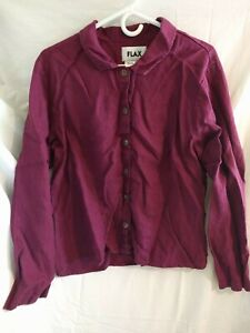 Flax-Women-s-Pink-Button-Up-Long-Sleeve-Blouse-Top-Shirt-Pockets-Linen-Medium-M