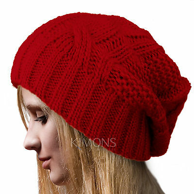 Braided Baggy Beanie Cable Knit Beret Slouchy Ski Women Hat Cap Winter Skull