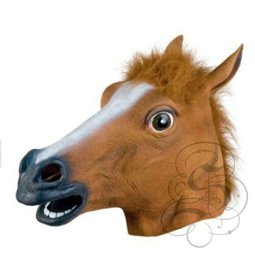 Latex Full Head Animal Popular Cosplay Brown Horse Fancy Dress Up Carnival Mask