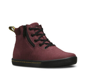Dr Martens Maegley Womens Canvas Zipped Boots - Black Cherry Red UK ... 7c285d0fde