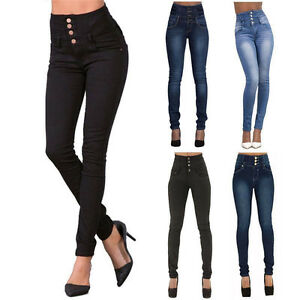 f20011720c6486 Ladies Women Jeans Pants Stretch High Waist Slim Skinny Pencil Denim ...