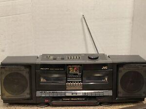 Vintage JVC PC-V77J Boombox -Dual Cassette Decks  Hyper-Bass & Graphic Equalizer