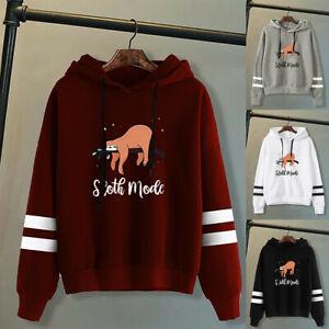Women Autumn Pullover Hoodies Sweatshirt Tops Casual Sloth Printed Hooded Jumper