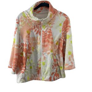 Lululemon-Jacket-Vented-Womens-8-Coral-Floral-Full-Zip-3-4-Wide-Sleeve-Mock-Neck