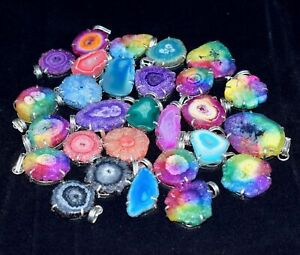 200pcs-Solar-Quartz-Druzy-Multi-Color-Wholesale-Lot-925-Silver-Plated-Pendants