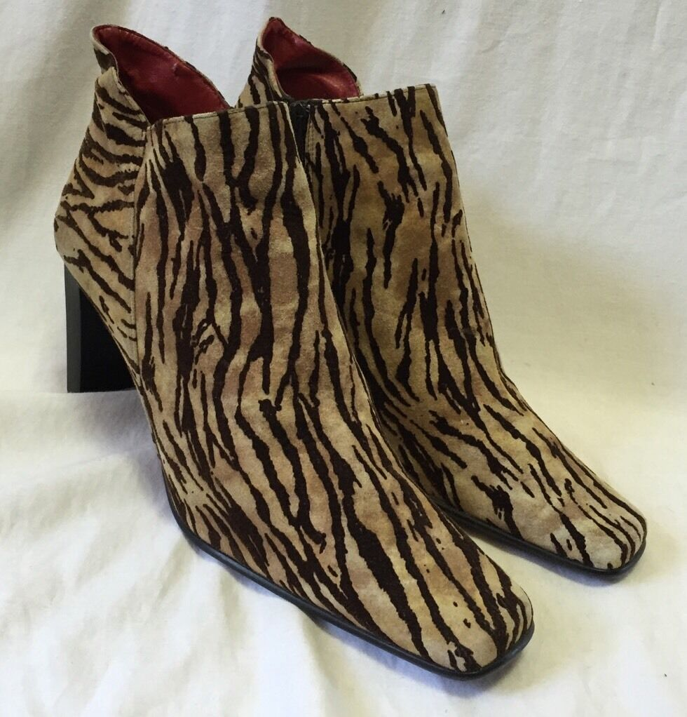 Palizzio Zebra Suede Fabric Booties Ankle Boots W… - image 1