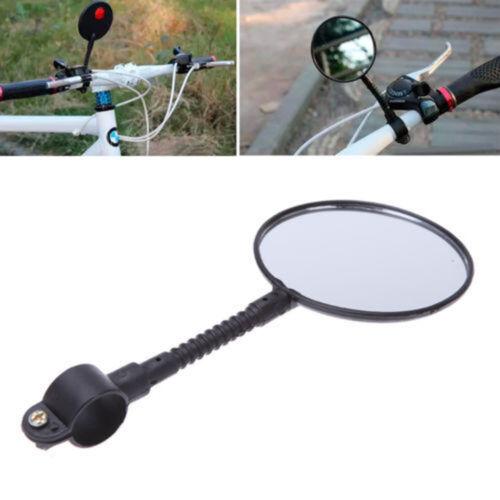 Bike Bicycle Handlebar Flexible Rear Back View Rearview Mirror Large Lens Black