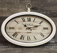 Xxxl Wanduhr antik Look Uhr paris50cm Vintage Metall/glas Retro Neu