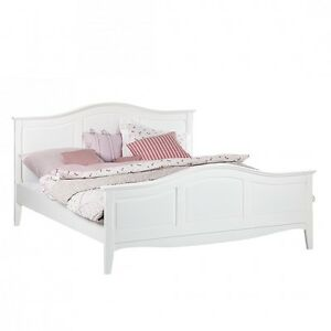 Bett weiß 180x200  Doppelbett Akazie MDF Weiß 180x200 Holz Bett Ehebett Bettgestell ...