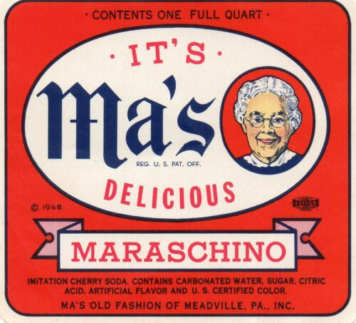 """COLLECTIBLE SODA LABEL-QUART MA/'S MARASCHINO OF MEADVILLE,PA 4X4 1//2/"""""""