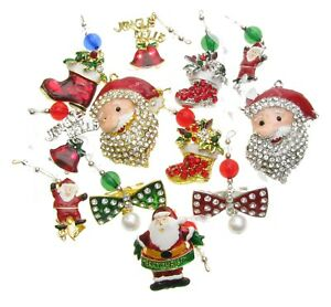 Mix-Pack-de-12-arbre-de-Noel-Stocking-pendaisons-Broche-Rouge-Strass-epingle-Nouveau-UK