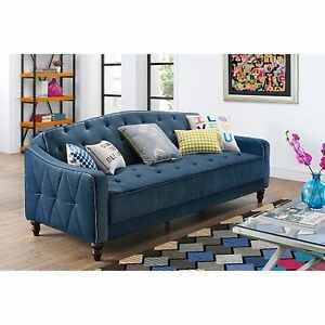 Blue Vintage Tufted Futon Sofa Sleeper Couch Bed Living Room Lounger  Furniture