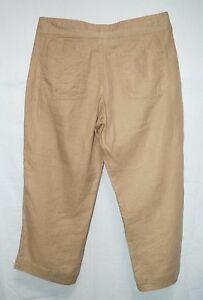 OLD-NAVY-Brown-Tan-100-LINEN-Gauzy-Low-CAPRI-Pants-8