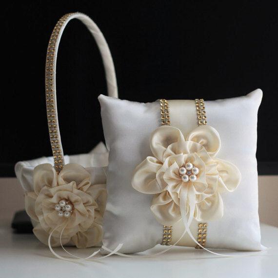 Lace Lace Lace Bearer Pillow Gold Ivory Wedding Flower Lace Ring Girl Basket Set d926da