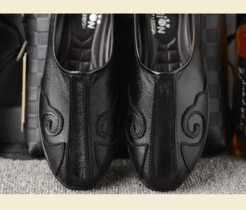 Retro Mens Flats sneaker Chinese Style Leather Rubber sole slip on  Casual Shoes