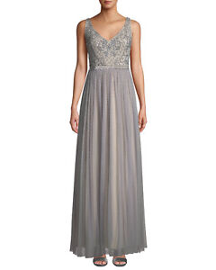 a159312e0697 Image is loading Adrianna-Papell-Beaded-Bodice-Textured-Chiffon-Gown-MSRP-