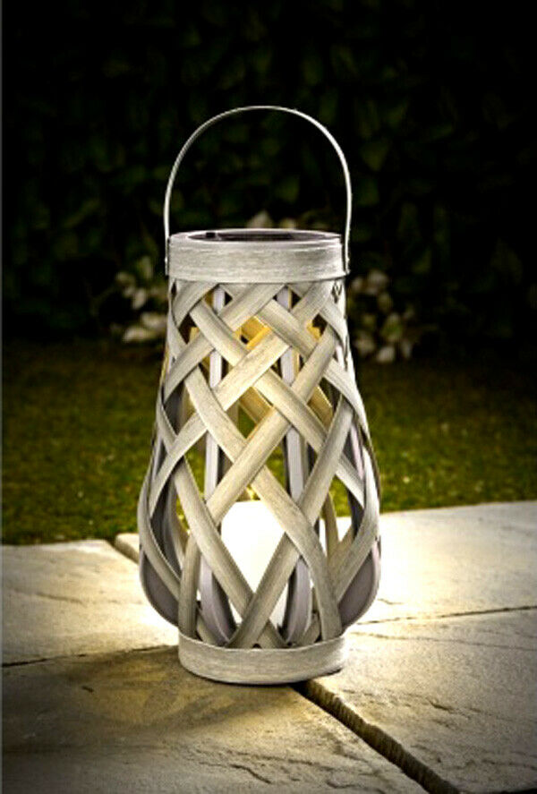 Roma efecto Mimbre accionado solar Light Up Linterna Decoración de jardín de.