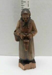 "Anri Hand Carved Wooden Figurine old woman with Basket  5"" Base Split 1930s Vtg"