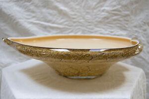 Art Glass Bowl, Cased Glass in Peach, Beige, Brown Tones