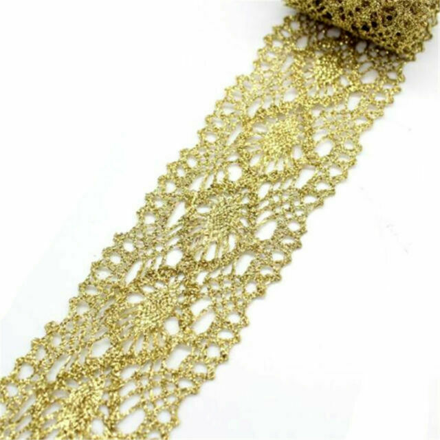 2 Yds Gold Sequins Lace Trim Gauze Ruffle Ribbon Fabric Costume DIY Sewing Craft