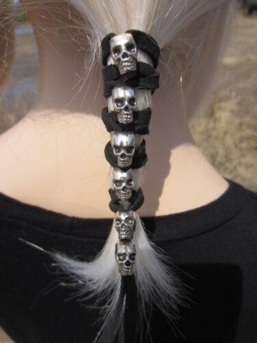 Crâne cuir cheveux Wrap Ties Ponytail Holders Argent Perles biker goth Clothing