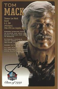 Tom Mack Los Angeles Rams  Football Hall Of Fame Autographed Bust Card