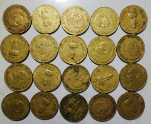 INIDA 20 PAISE 1969 Centennial Birth MAHATMA GANDHI 22mm Brass Coins lot 20PCS