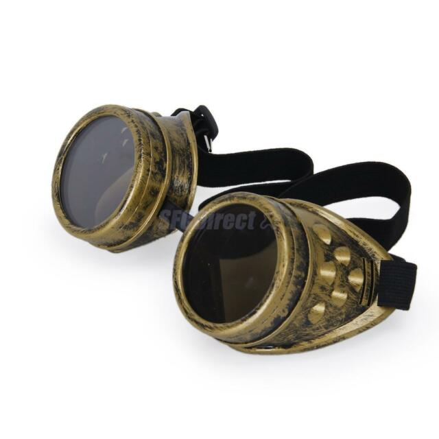 1pc Vintage Victorian Steampunk Cyber GOGGLES Welding Punk Gothic Cosplay Brass
