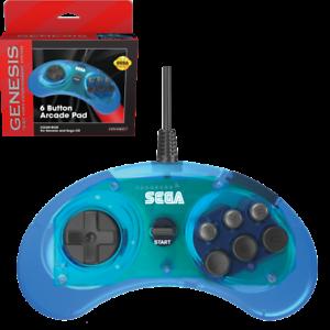 New Retro-Bit Official Sega Genesis Controller 6-Button Arcade Pad - CLEAR BLUE