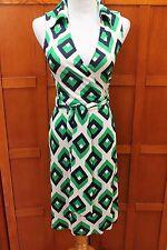 Diane von Furstenberg DVF Vintage St Jude Green Navy Silk Wrap Dress 2 XS S