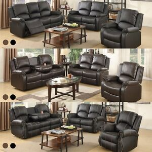Image Is Loading Recliner Leather Sofa Set Loveseat Couch 3 2