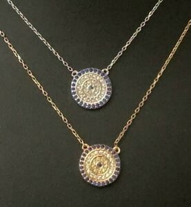 925 Sterling Silver / Gold Cubic Zirconia CZ Evil Eye Greek Mati Nazar Necklace