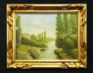 Andre-Royer-XIX-Xx-Oil-on-Panel-circa-1940-Signed-in-Bottom-Right-Landscape