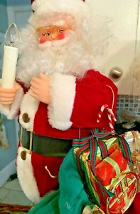 VINTAGE-CHRISTMAS-ANIMATED-MOTIONETTE-SANTA-CLAUS-2-Light-Up-Candle-Musical