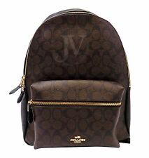 NEW COACH (F58314) CHARLIE SIGNATURE COACH LOGO BROWN BLACK BACKPACK BOOKBAG BAG