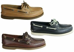Mens-Sperry-A-0-2-Eye-Leather-Lace-Up-Comfortable-Wide-Fit-Boat-Shoes-ModeShoe