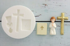 Silicone Mould Communion, Christening, Bible, Cross   Ellam Sugarcraft M034