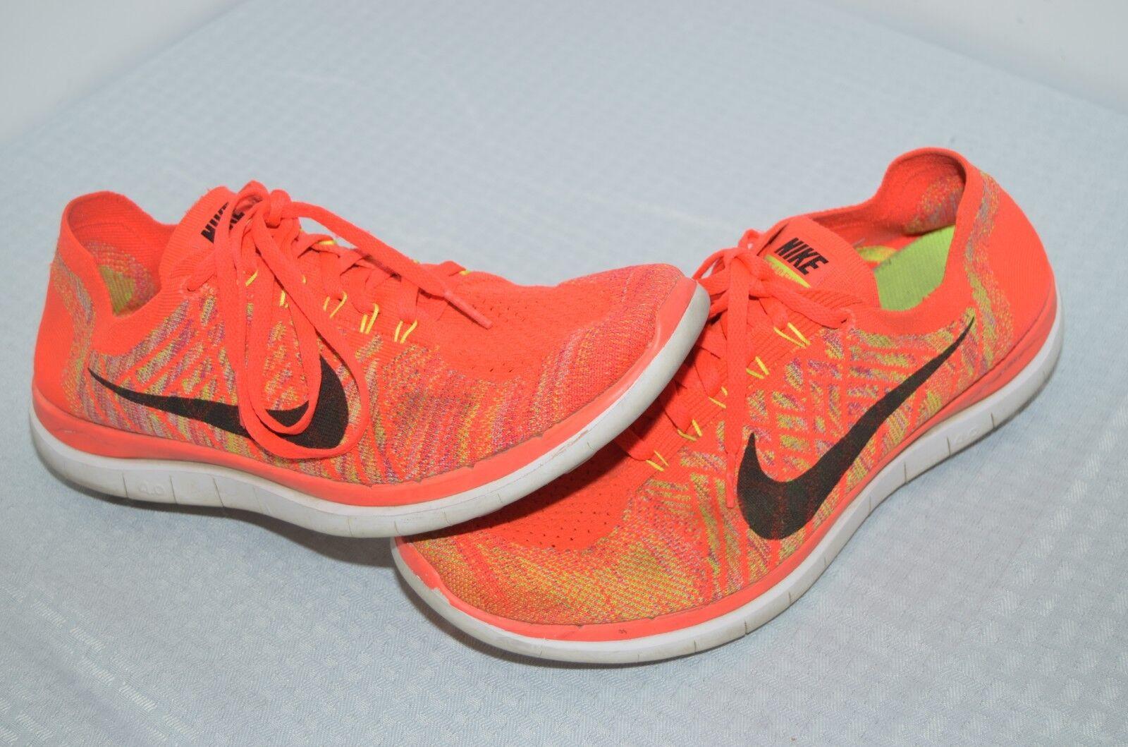 Nike Free 4.0 Flyknit Running shoes Neon Red orange Green Knit Light Size 11 US