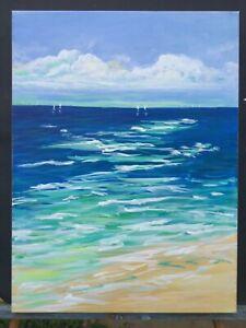 Seascape-Abstract-Original-Painting-Acrylic-Canvas-Beach-Ocean-Sea-24-x18-x1-5