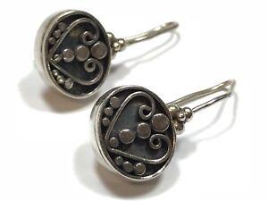 Vintage-amp-Ornate-Ladies-Sterling-Silver-Heart-Earrings-A-Must-See-Wow