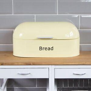 Retro-Bread-Bin-Cream-Steel-Kitchen-Top-Storage-Loaf-Box-New-By-Home-Discount