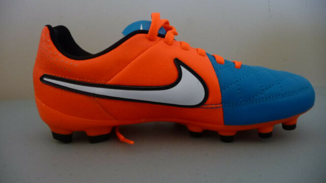 c886de836 NEW – Nike Tiempo Genio Leather FG Soccer Cleats Orange   Blue Youth Boys  Girls